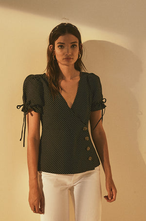 Fitted Button Up Top with Puff Sleeves