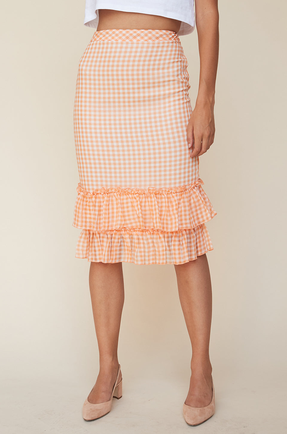 High Waist Ruffle Skirt
