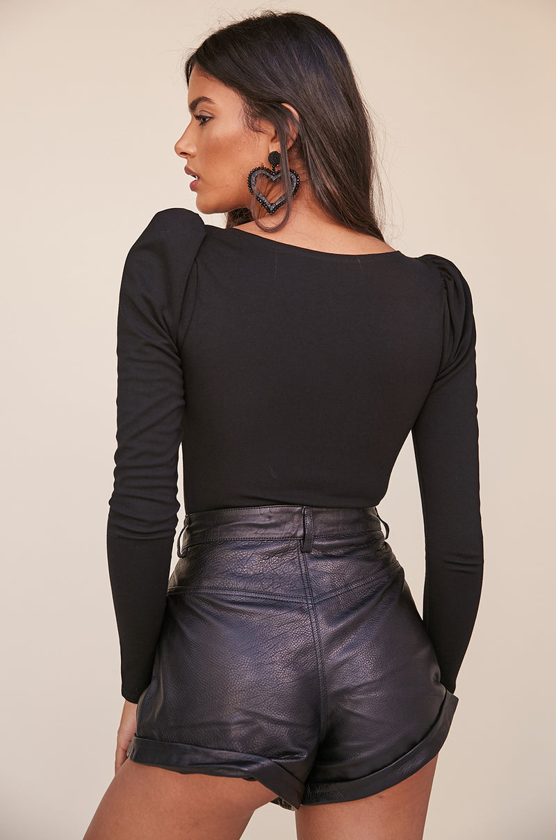 Leather Relaxed Cuff Short