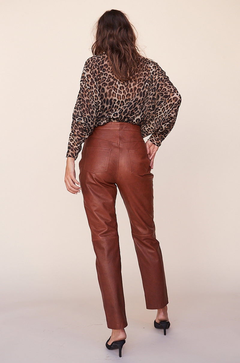 Leather Straight Leg Pants