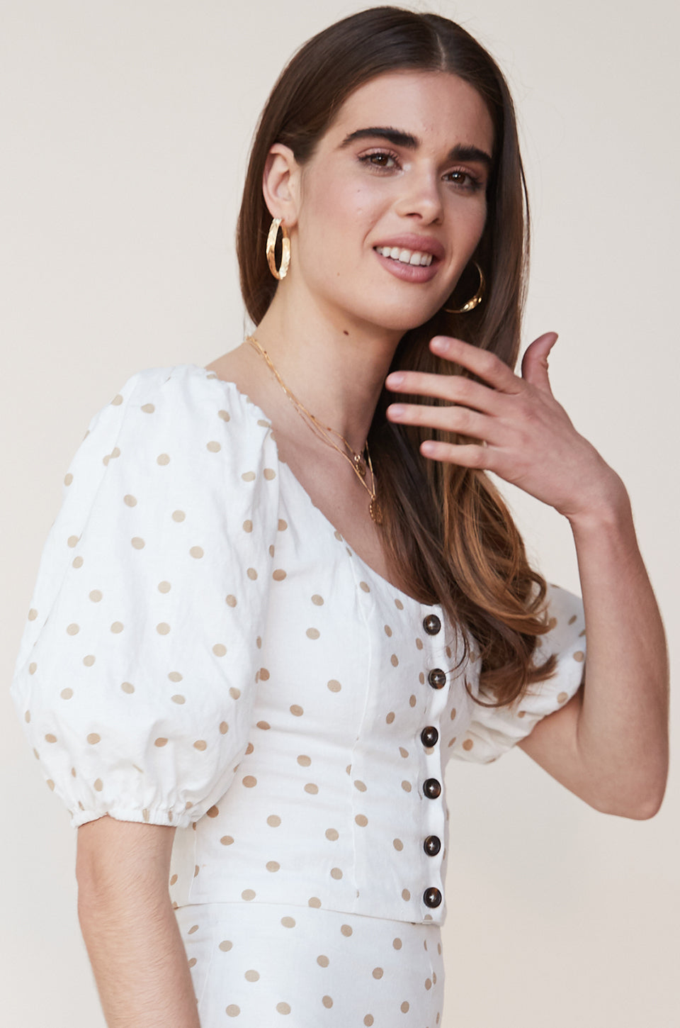 Polka Dot Button Up Top