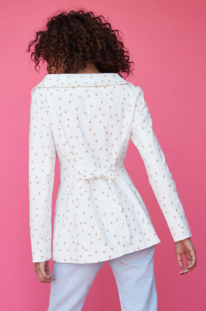 Polka Dot Wide Neck Blazer