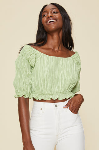 Crochet Drawstring Crop Top