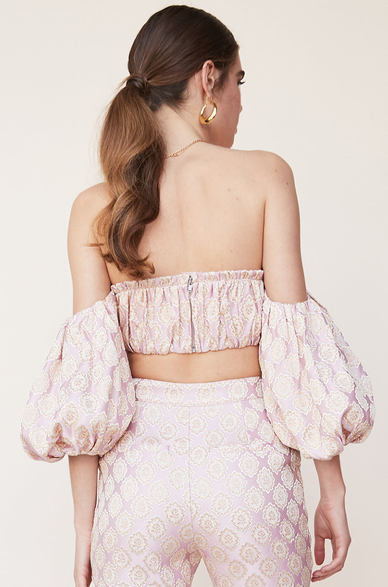 Shirred Bustier With Puff Sleeves