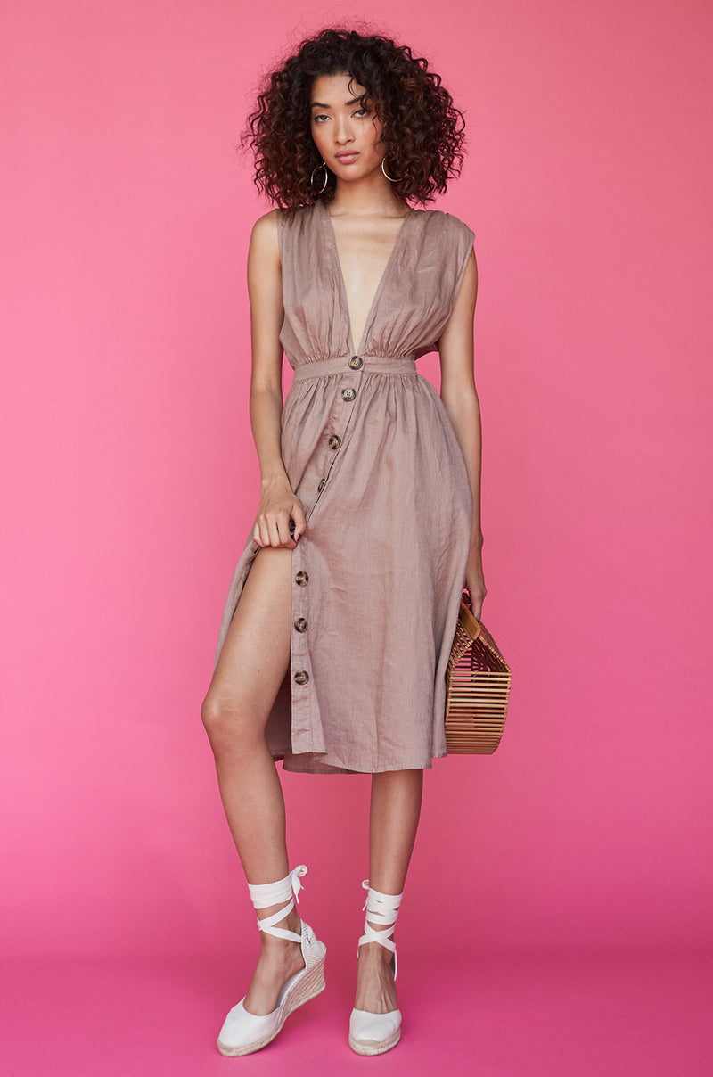 Shirred Button Up Dress