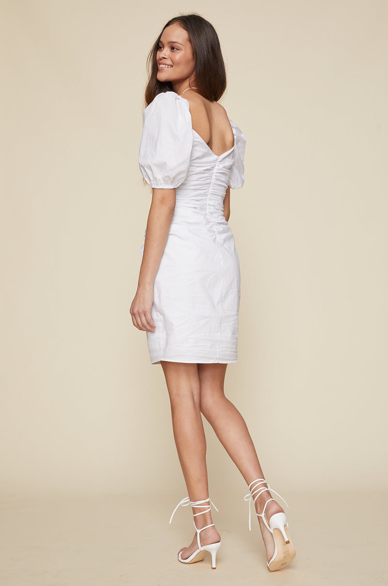 Shirred Button Up Dress With Puff Sleeve
