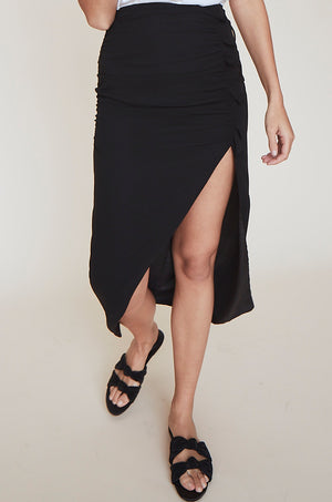 Shirred Skirt w/High Slit