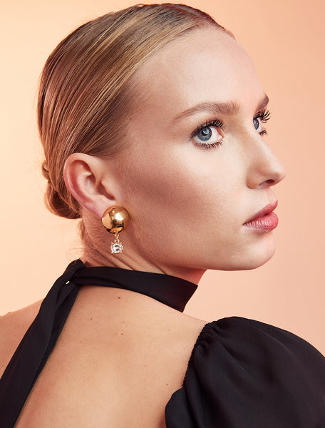 Sphere Stud With Crystal Earrings