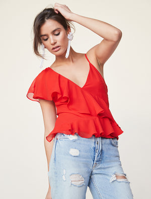 Top With Asymmetric Ruffle
