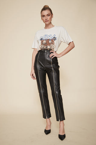 Fei Leather Moto Pants