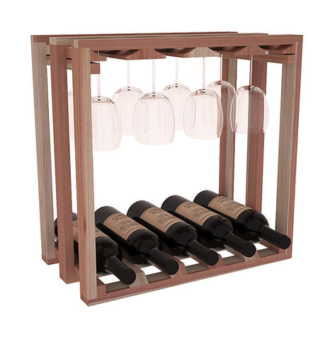 Lattice Stemware Rack with Bottles - Redwood