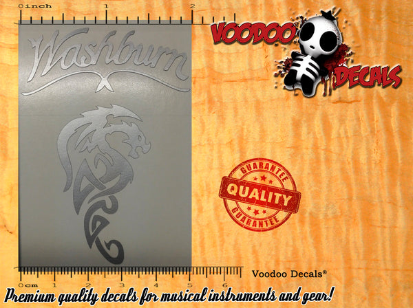 Washburn Classic vinyl decal + Dragon - Peal and Stick - ALL SILVER