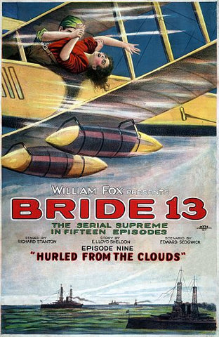 """Bride 13"" the Serial Surpreme - ""Hurled From The Clouds"" Vintage Movie Poster"