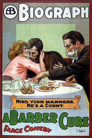 """A Barber Cure"" - Vintage Movie Poster"