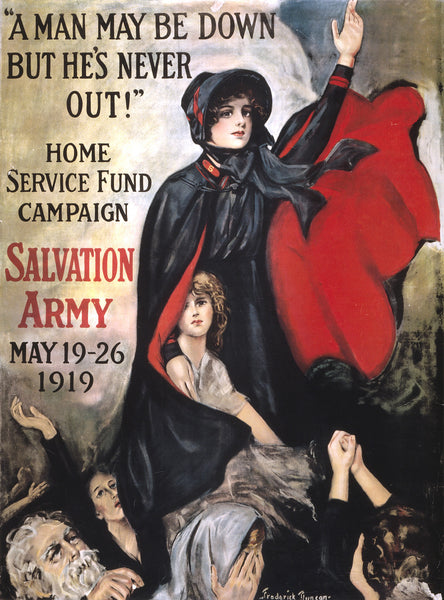 "WWI Poster ""A Man May Be Down But He's Never Out!"" Home Service Fund Campaign Sa"