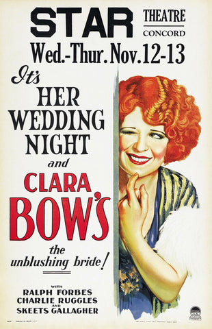 """It's Her Wedding Night"" - Clara Bow Movie Poster"