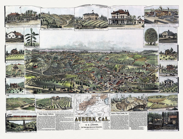 Antique Map of Auburn California Poster 1887 Placer County