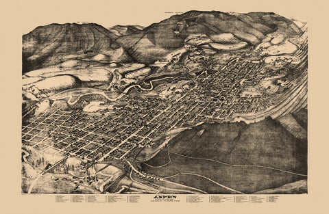 Antique Map of Aspen Colorado Poster 1893 Pitkin County