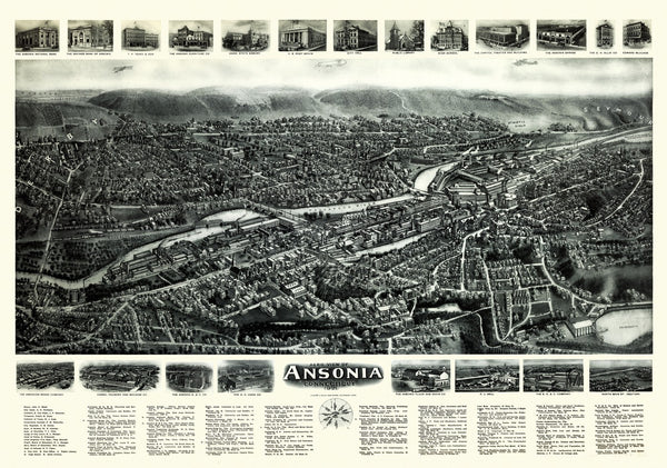 Antique Map of Ansonia Connecticut Poster 1921 New Haven County