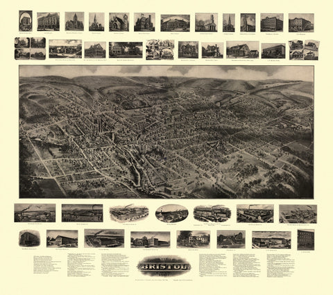 Antique Map of Bristol Connecticut Poster 1907 Hartford County