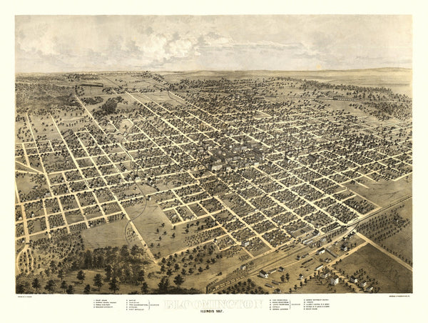 Antique Map of Bloomington Illinois Poster 1867 McLean County