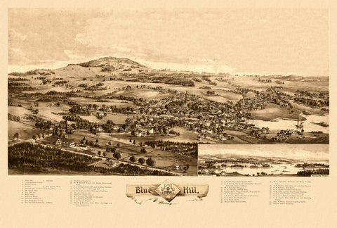 Antique Map of Blue Hill Maine Poster 1896 Hancock County