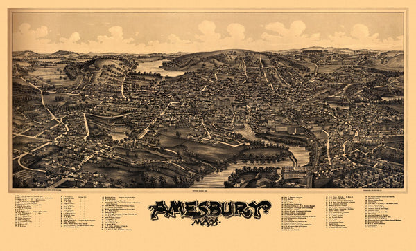Antique Map of Amesbury Massachusetts Poster 1890 Essex County