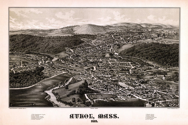 Antique Map of Athol Massachusetts Poster 1887 Worcester County