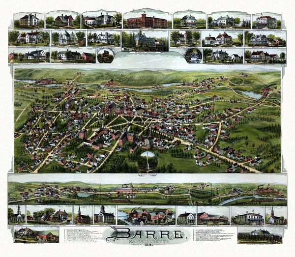 Antique Map of Barre Massachusetts Poster 1891 Worcester County