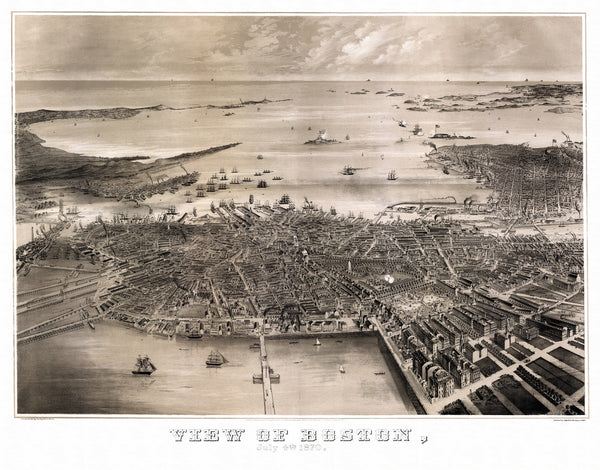 Antique Map of Boston Massachusetts Poster 1870 Suffolk County