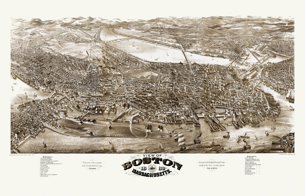 Antique Map of Boston Massachusetts Poster 1880 Suffolk County