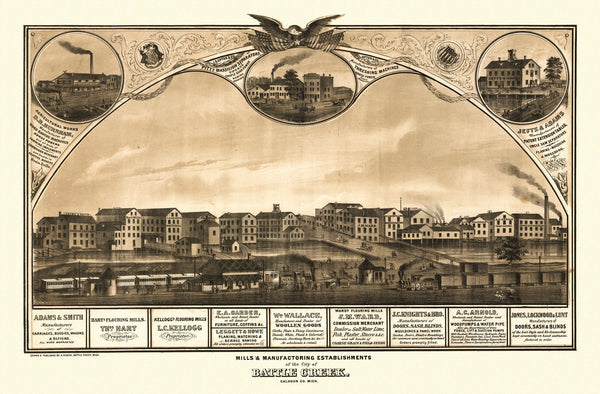 Antique Map of Battle Creek Michigan Poster 1869 Calhoun County