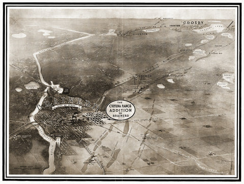 Antique Map of Brainerd Minnesota Poster 1914 Crow Wing County