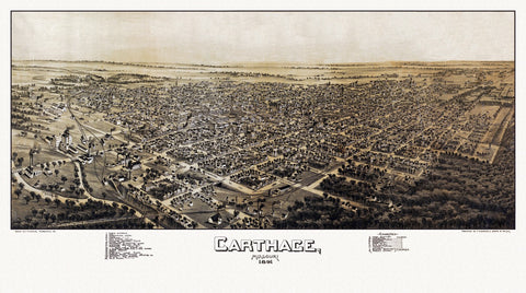 Antique Map of Carthage Missouri Poster 1891 Jasper County