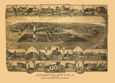 Antique Map of Atlantic City New Jersey Poster 1880 Atlantic County