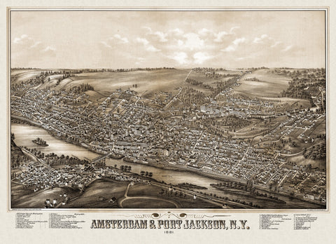 Antique Map of Amsterdam New York Poster 1881 Montgomery County