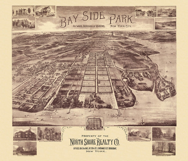 Antique Map of Bay Side Park New York Poster 1915 New York County