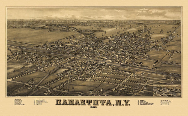 Antique Map of Canastota New York Poster 1885 Madison County