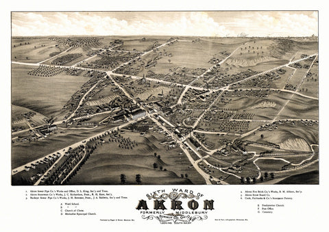 Antique Map of Akron Ohio Poster 1882 Summit County