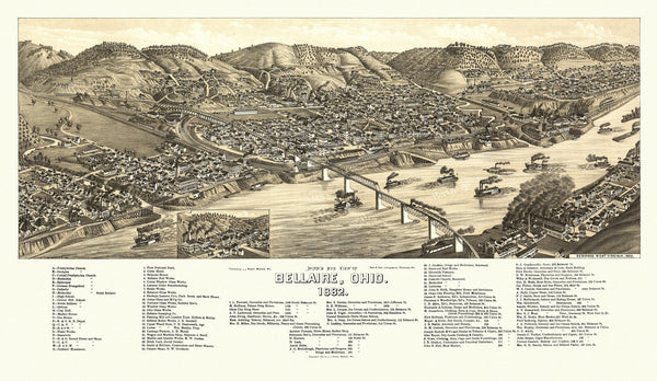 Antique Map of Bellaire Ohio Poster 1882 Belmont County