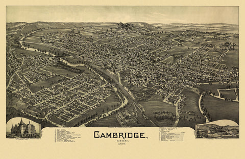 Antique Map of Cambridge Ohio Poster 1899 Guernsey County