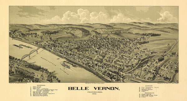 Antique Map of Belle Vernon Pennsylvania Poster 1902 Fayette County