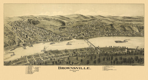 Antique Map of Brownsville Pennsylvania Poster 1902 Fayette County