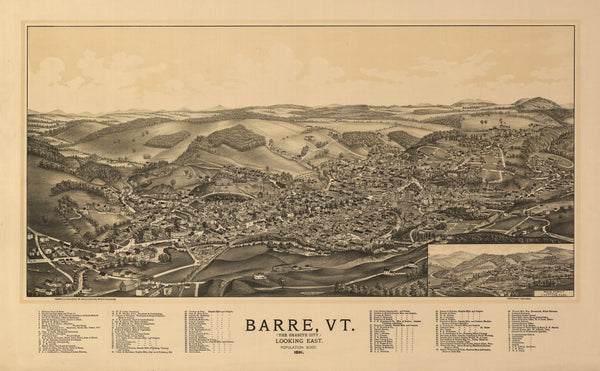 Antique Map of Barre Vermont Poster 1891 Washington County