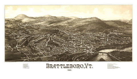 Antique Map of Brattleboro Vermont Poster 1886 Windham County
