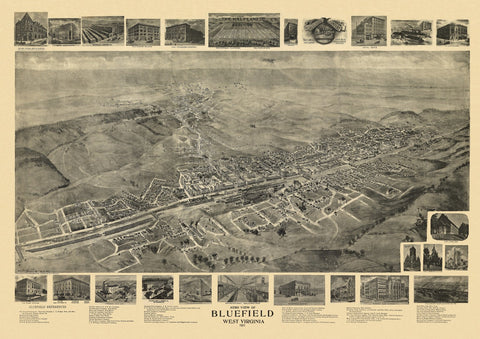 Antique Map of Bluefield West Virginia Poster 1911 Mercer County