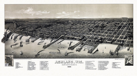 Antique Map of Ashland Wisconsin Poster 1886 Ashland County