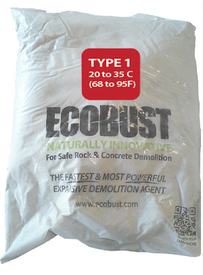 ECOBUST 11 lb Bag TYPE 1 (68 to 95F) Expansive Demolition Grout for Concrete Rock Breaking and Removal