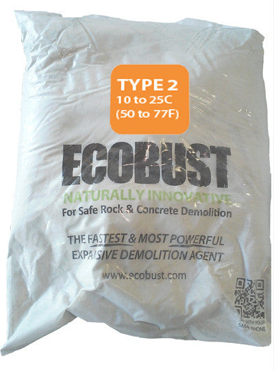ECOBUST 11 lb Bag TYPE 2 (50 to 77F) Expansive Demolition Grout for Concrete Rock Breaking and Removal