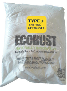 ECOBUST 11 lb Bag TYPE 3 (41 to 59F) Expansive Demolition Grout for Concrete Rock Breaking and Removal